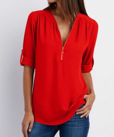 Zipper-Short-Sleeve-Women-Shirts-2021-Sexy-V-Neck-Solid-Womens-Tops-And-Blouses-Casual-Tee