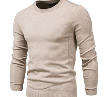 Men O-neck Solid Color Long Sleeve Warm Slim Sweaters