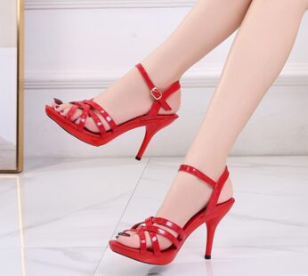 Women Red Patent Leather High Heel Sandals
