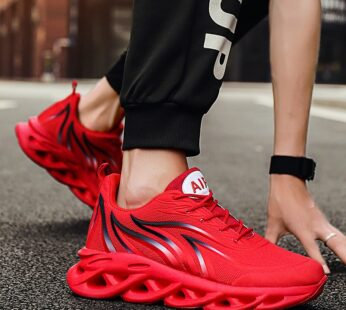 Men Walking Shoes Men's Flame Printed Sneakers Flying Weave Sports Shoes Comfortable Outdoor Men Athletic Shoes